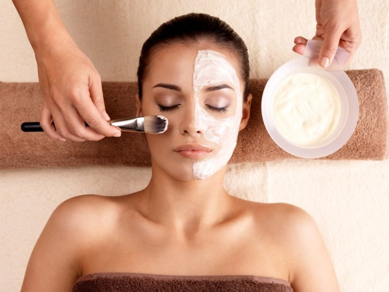facial mask treatment at a salon
