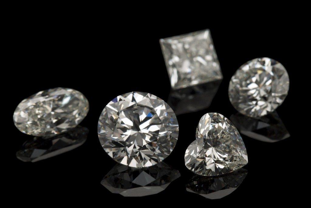 diamond set on a black background