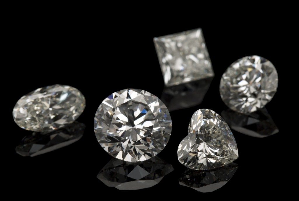 diamond set on a black background