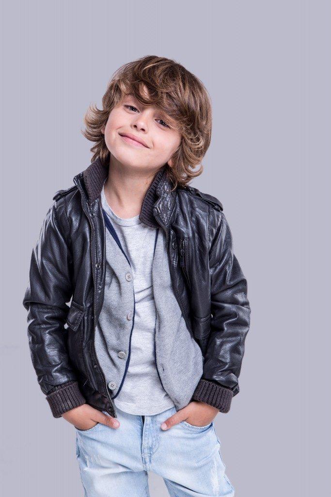 Fashion little boy wearing a leather jacket