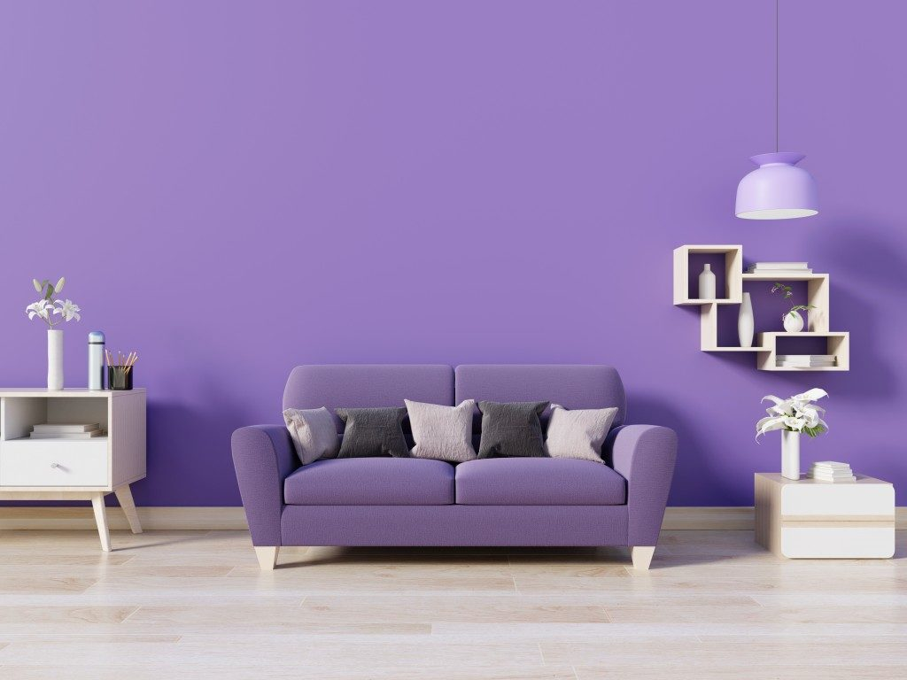 living room in purple