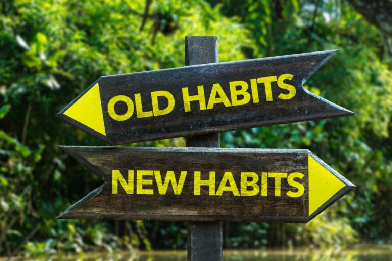 old habits + new habits concept
