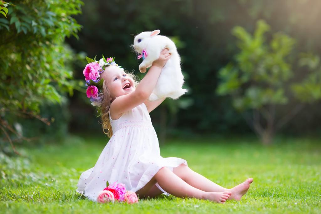 rabbit and child